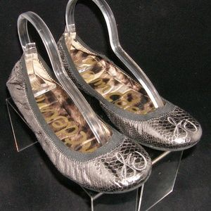Sam Edelman 'Cayla' silver snake print flats 10M